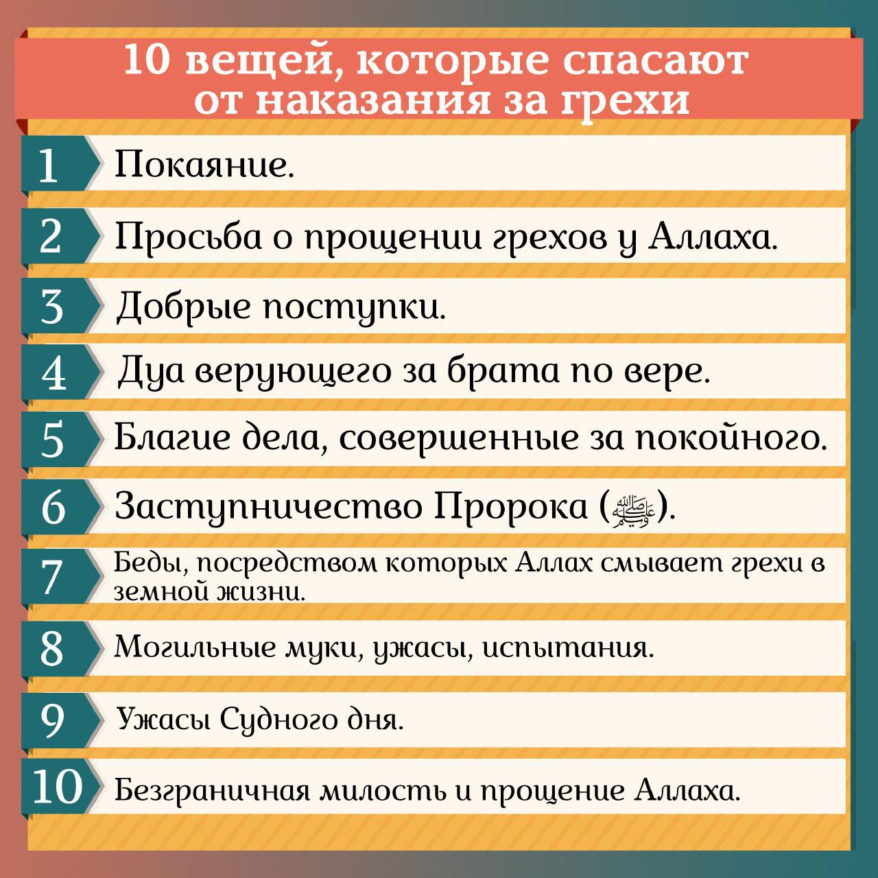10 вещей, которые спасают от наказания за грехи