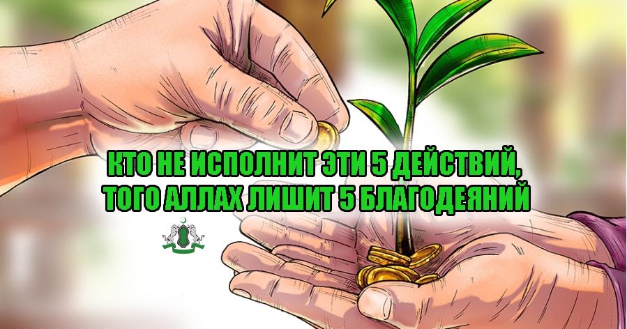 Кто не исполнит эти 5 действий, того Аллах лишит 5 благодеяний